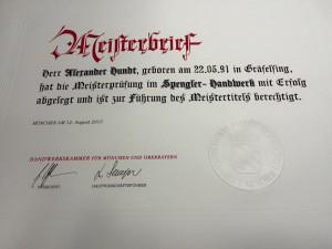Meisterbrief 2015 Alexander Hundt