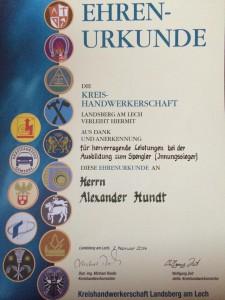 Urkunde Kreishandwerkerschaft